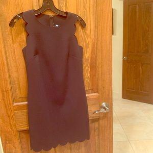 J Crew scalloped edge black shift dress.